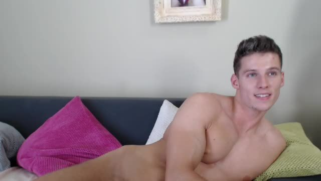 Beautiful Jon Jerking That Sexy Cock with Legs Wide Open and Cumming