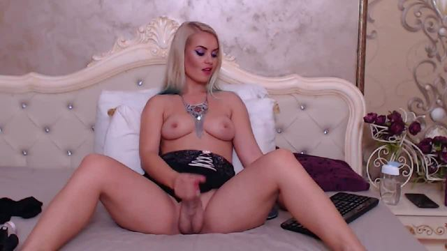 Sexy Stroking Blonde Tgirl