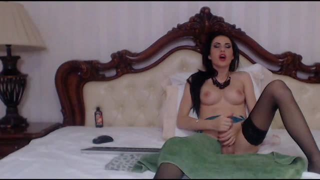 Stunning Raven-haired TransModel Stroking