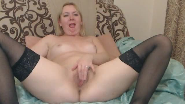 Blonde Girl Plays and Fingers on Bed