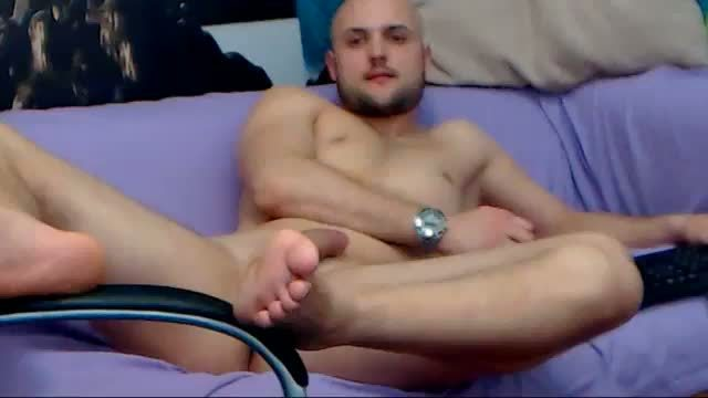 Skin Head Guy Jerking Off