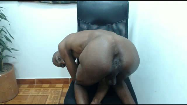 Horny Ebony Stud Victor Bends Over!