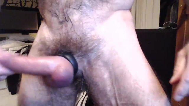 Leather Cum on Hairy Belly