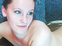 Naked Beautiful Blue Eyed Babe Plays with Her Hairy Pussy