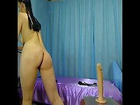 Rides Big Dildo with Oil