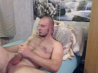 Hairy Cub Lying in Bed Jerks Off