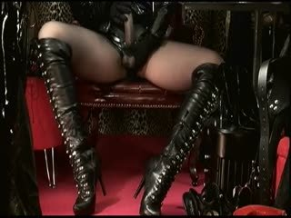 Sexy Leather Boots & Strap-on Domination
