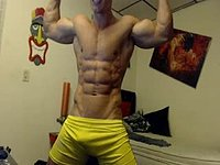 Disappointing Webcam Show: Webcam Showing of His Muscles