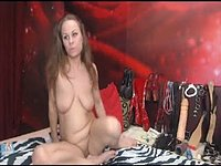 Brunette in Stalkings Gags and Chains Herself