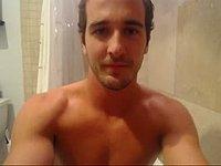 American Pornstar Model Showers and Jerks Dick