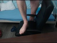 Cute Hairy Cub Webcam Shows Uncut Cock and Feet on Cam, No Kum