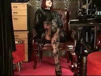 Foot Fetish Floral Patterned Pantyhose & Black Dildo