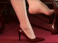 Bare Foot Dangling Red Leather Pumps
