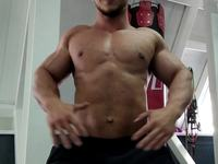 Flexing in Gym Session 1 Webcam Show My Power and Muscles